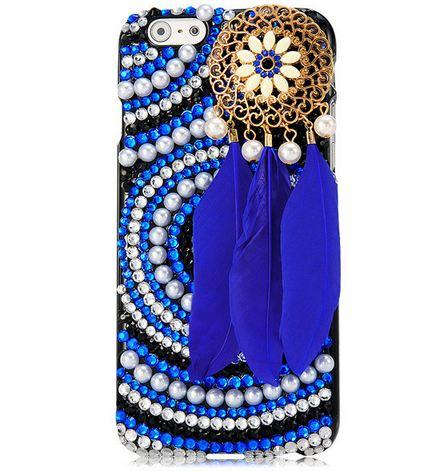 เคส iPhone 6 4.7 นิ้ว เคส Diy 3 มิติ ติดไข่มุก คริสตัล โทนสีน้ำเงิน ติด ขนนก สีน้ำเงิน สไตล์ อินเดียแดง เคส เก๋ ๆ ไม่ซ้ำใคร 454079