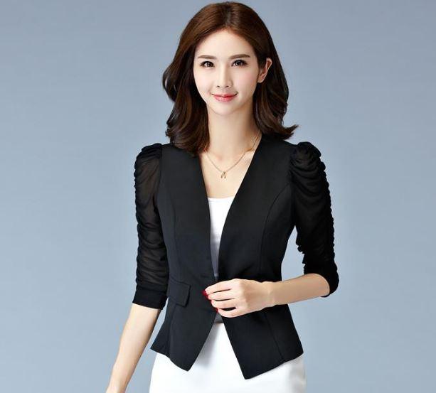 เสื้อสูท เสื้อแจ็คเก็ต เสื้อคลุม แบบสูท สูทผู้หญิง แขนยาว สูทสั้น เข้ารูป แบบพอดีตัว สีดำ ใส่ออกงาน แขนตุ๊กตา สูทใส่ทำงาน สีขาว 943057_1