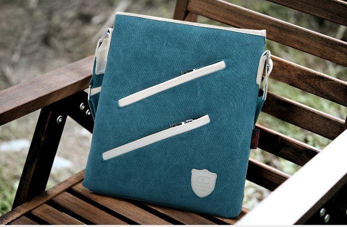 กระเป๋าสะพายข้าง ผู้ชาย ดีไซน์ แฟชั่น สไตล์ วัยรุ่น อเมริกัน กระเป๋าสะพายผ้าแคนวาส กระเป๋าสะพายเฉียง ออกแบบ ซิป สีขาว ตัดเฉียง เท่ ๆ 663331
