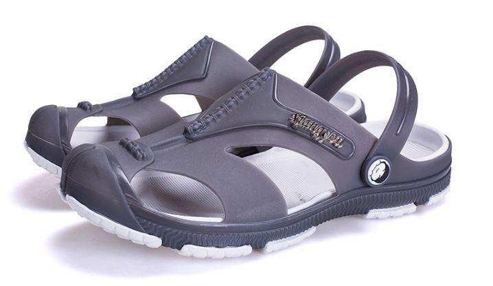 รองเท้าผู้ชาย รองเท้า แบบรัดส้น รองเท้า ใส่เที่ยว รองเท้าแตะ รองเท้า ยาง อย่างดี กันน้ำ รองเท้า แฟชั่น ผู้ชาย รัดส้น สีเทา คลาสสิค 799239_2
