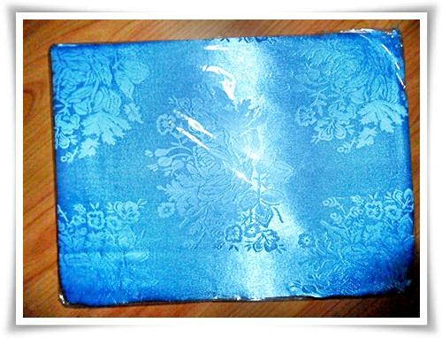 ผ้าแพร ผ้าห่ม สีฟ้า ลายดอกกุหลาบ