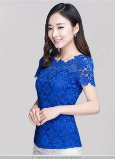 เสื้อแขนสั้น ผ้าลูกไม้ ลุ๊ค คุณหนู ใส่แล้วดู ผู้ดี แบบไทย ๆ เสื้อแบบไทย ใส่ออกงาน ใส่ทำงาน สีน้ำเงิน Size M-5XL no 741457_2