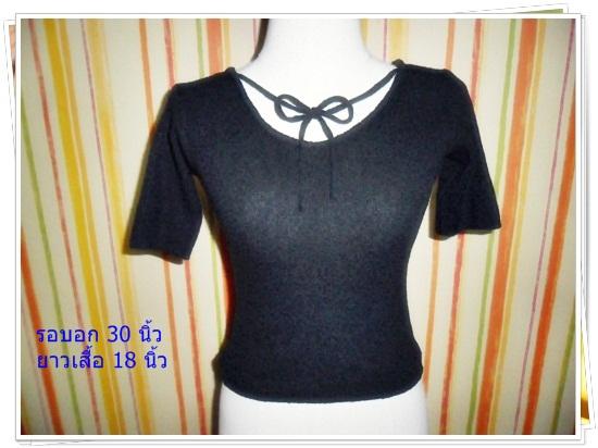 #1115 Used เสื้อไหมพรม สีดำ มีโบว์ที่คอ