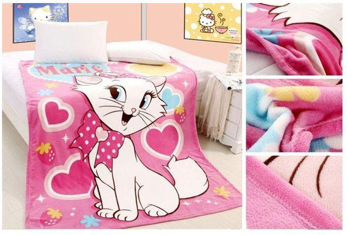 ผ้าห่มกำมะหยี่ เนื้อนุ่ม ลายแมว Marie E10