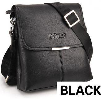 กระเป๋าสะพายข้าง ผู้ชาย polo หนังแท้ สีดำ ใบกำลังดี no 68147