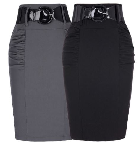 กระโปรงทำงาน กระเป๋าทรงแคบ ใส่ทำงาน แฟชั่นกระโปรง ทรงแจกัน สีเทา สีดำ สำหรับสาวหุ่นแจกัน 571453