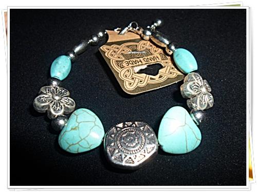 สร้อยข้อมือแฟชั่น เทอร์ควอยซ์ สีฟ้า ลายหัวใจ ผสม เงิน งาน Hand Made t003