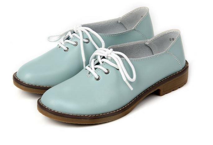 รองเท้าหุ้มส้น ผู้หญิง รองเท้าหนังแท้ สไตล์ oxford รองเท้าผู้หญิง หุ้มส้น สีฟ้าอ่อน สีโทนเบาสบาย รองเท้ายืดหยุ่นสูง เสริมส้นเล็กน้อย 909981_1