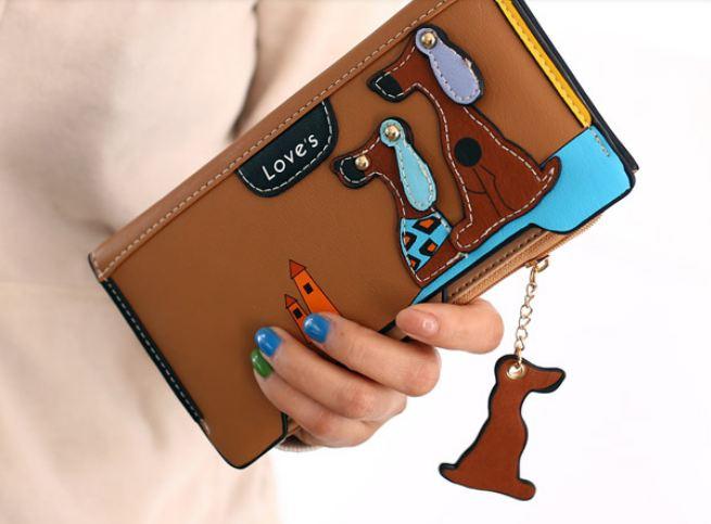 กระเป๋าสตางค์ผู้หญิง กระเป๋าสตางค์ใบยาว ดีไซน์ใหม่ แต่งโลโก้ ลายสุนัข 2 ตัว ลอยจากกระเป๋า ทรงสี่เหลี่ยม ใส่บัตรได้เยอะ สีน้ำตาล 560339_7