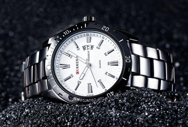 นาฬิกาข้อมือชาย สาย สแตนเลส แท้ นาฬิกาข้อมือแบบมีระบบวันที่ ใส่ทำงาน แบบเป็นทางการ สวยหรู มีระดับ 393867