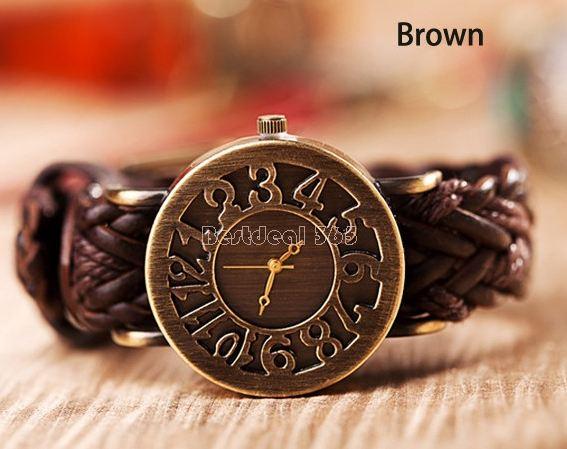 นาฬิกาข้อมือผู้หญิง นาฬิกา สายหนังถัก สไตล์ วินเทจ หน้าปัด แบบโบราณ ผสม ผสานกับ สายหนังแท้ เข้ากัน สุด ๆ สีดำ น้ำตาล น้ำเงิน 725094