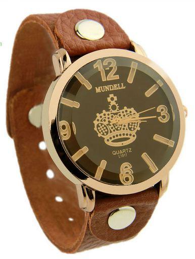 นาฬิกาข้อมือ ผู้หญิง ผู้ชาย ใส่ได้ นาฬิกา สไตล์วัยรุ่น เท่ ๆ สายหนัง สีน้ำตาล วินเทจ กรอบทอง หน้าปัดลาย มงกุฏ อังกฤษ ของขวัญให้แฟน 306884_3