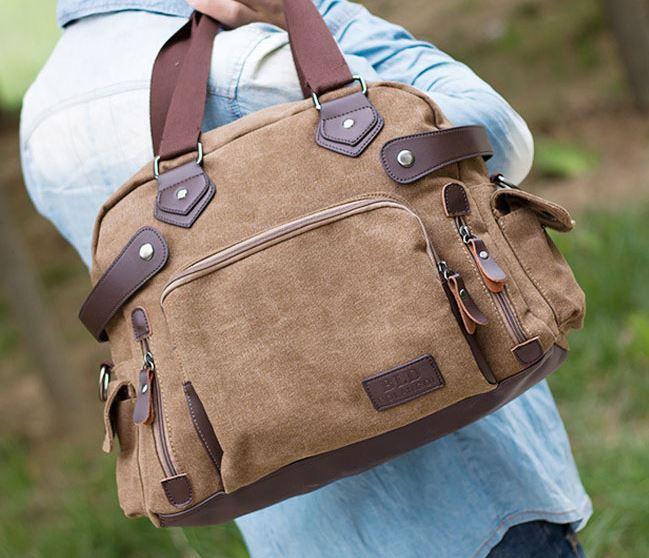 กระเป๋าผ้าแคนวาส ดีไซน์สวย กระเป๋าสะพายข้าง กระเป๋าเดินทาง ขนาดกำลังดี ใส่หนังสือเรียน ใส่เสื้อผ้า ท่องเที่ยวในใบเดียว 157777