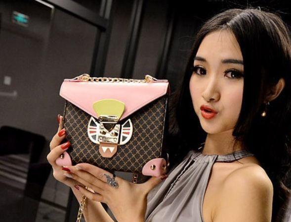 กระเป๋าสะพายข้าง ผู้หญิง ขนาดเล็ก สี่เหลี่ยม ดีไซน์ แฟชั่น ยุโรป แบบสวย ลายตาราง สีน้ำตาล ตัด ด้วย ฝากระเป๋าสีสันสดใส ออกแบบคล้าย หน้าแมว 841481
