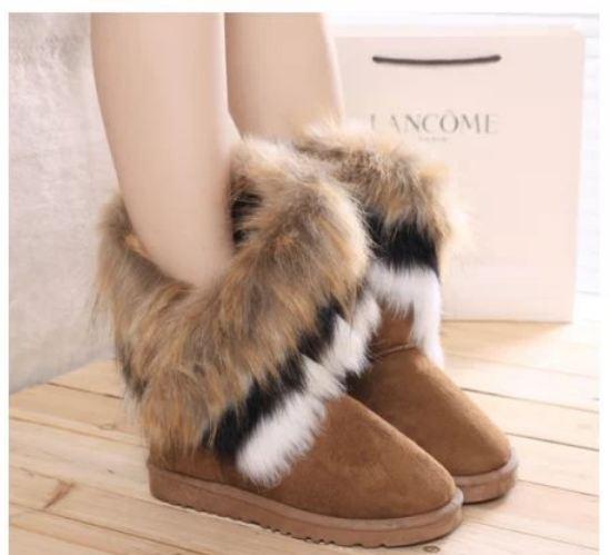 รองเท้าหุ้มส้นผู้หญิง รองเท้าบูท นิด ๆ ตกแต่งขนเฟอร์ ขนกระต่ายสีน้ำตาล ที่ข้อ รองเท้าแฟชั่น หุ้มส้น สไตล์สาว วินเทจ สีน้ำตาลอ่อน 96015_2
