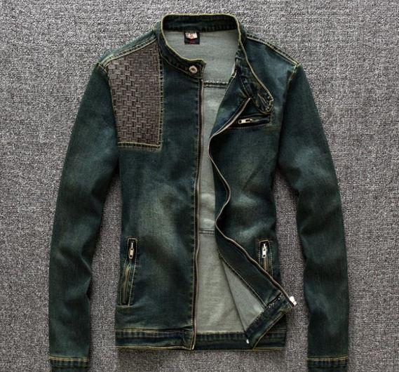 เสื้อเชิ้ตยีนส์ผู้ชาย เสื้อยีนส์แขนยาว ใส่เป็น Jacket ยีนส์ แบบเท่ ๆ โทนสีออก สีเขียว แบบมีดีไซน์ เสื้อแจ็คเก็ตยีนส์ แบบปิดคอ ขี่มอเตอร์ไซค์ 398703