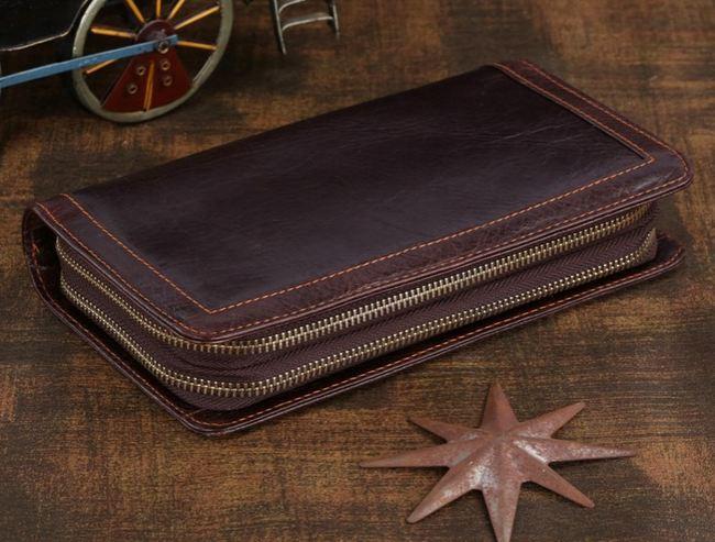 กระเป๋าสตางค์ แบบ กระเป๋าถือผู้ชาย กระเป๋าหนังแท้ ซิปรอบ 2 ซิป ใส่บัตร ใส่เงิน ได้เยอะ ดีไซน์ เรียบหรู กระเป๋าสตางค์หนังสีน้ำตาล คลาสสิค 768792
