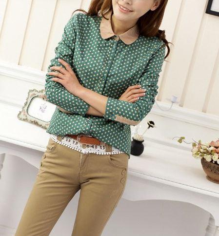 เสื้อเชิ้ตผู้หญิง ลายจุด คอปก แขนยาว แบบเก๋ สุด ๆ สี เขียว no 56642