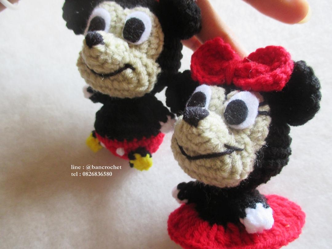 ตุ๊กตามิกกี้เม้าส์มินนี่เม้าส์ถักโครเชต์ ขนาด 4 นิ้ว mickey minnie mouse amigurumi crochet doll