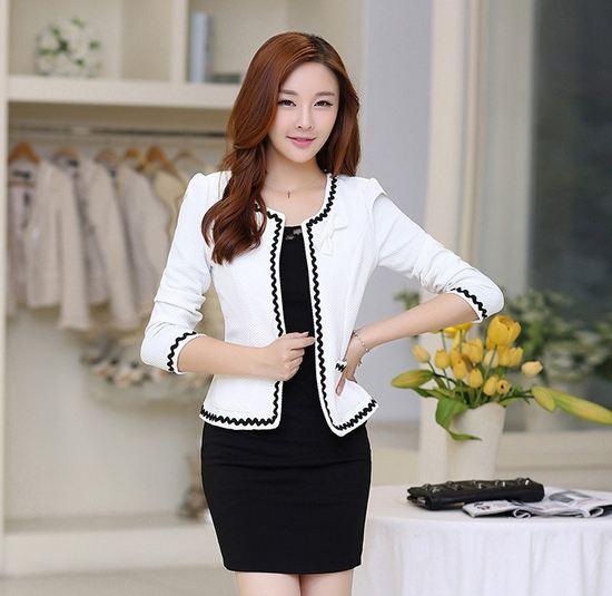 เสื้อคลุมแขนยาวผู้หญิง เสื้อนอก สีขาว แต่ง ขอบเพิ่มมิติ ด้วยสีดำ เสื้อแจ็คเก็ต ใส่ออกงาน ใส่ทำงาน สำหรับ สาวออฟฟิต เสื้อคลุมสไตล์ นักบริหาร 647606_1
