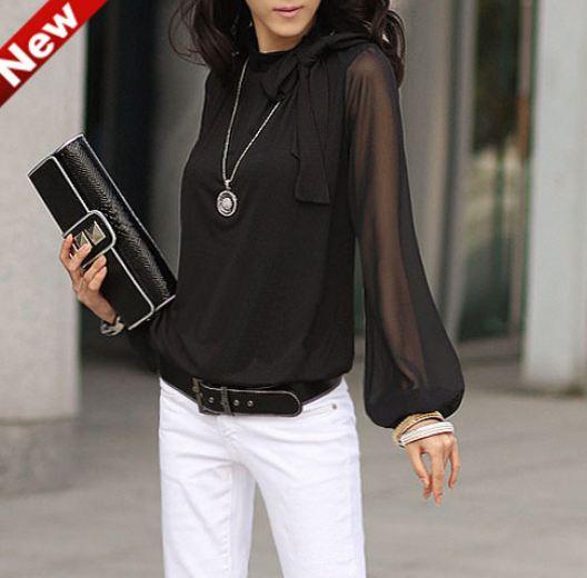 เสื้อผ้าชีฟอง สไตล์ สาวทำงาน woking women เสื้อแขนยาว ซีทรู ช่วงแขน แต่งโบว์ ที่คอเสื้อ เสื้อแขนยาว แบบเปรี้ยว ๆ สีดำ 502023