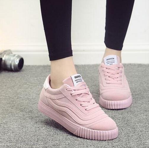 รองเท้าผ้าใบ ผู้หญิง รองเท้า วัยรุ่น รองเท้าหุ้มส้น สีชมพู สาวหวาน น่ารัก ดีไซน์ ลายเส้น รองเท้าใส่เที่ยว ออกกำลังกาย แบบสปอร์ต 131001_4