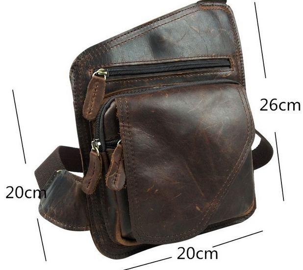 กระเป๋าคาดอก ผู้ชาย หนังแท้ สไตล์ วินเทจ กระเป๋าคาดอก หนังวัวแท้ Oil wax แบบมีดีไซน์ สวยหรู ใส่ของได้เยอะ สะพายเที่ยว เท่ ๆ 805701