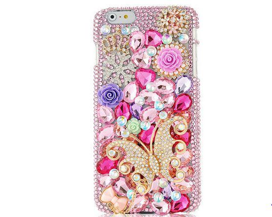 เคส คริสตัล เคส iPhone 6 พลัส 5.5 นิ้ว เคสคริสตัล ดอกกุหลาบ ผีเสื้อ สุดหรู คริสตัลเม็ดใหญ่ มาพร้อมกับ จุกปิดกันฝุ่น ดอกกุหลาบ เข้าชุดกัน 561143