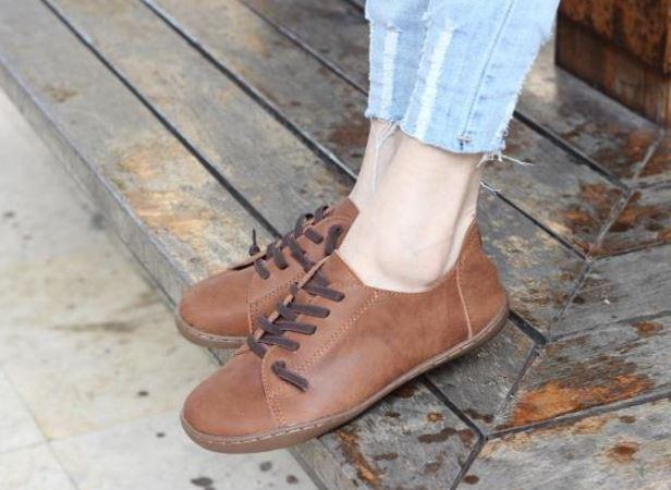 รองเท้าหุ้มส้น ผู้หญิง รองเท้าหนังแท้ รองเท้าผ้าใบหนัง แท้ แบบไม่มีส้น รองเท้า ใส่เที่ยว สีน้ำตาลอ่อน มีเชือกผูก สไตล์ วินเทจ หนังนิ่ม 903277_3