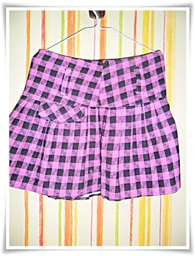#182003 Used กางเกงกระโปรง แบบมินิ ลายสก๊อต สีชมพู ผ้าหนาใส่ทนค่ะ