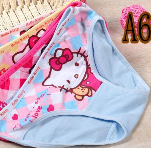 กางเกงในเด็ก Set 6 ตัว เนื้อผ้า Cotton ลาย ตาราง คิตตี้ ขอบเรียบ no 34645_a6