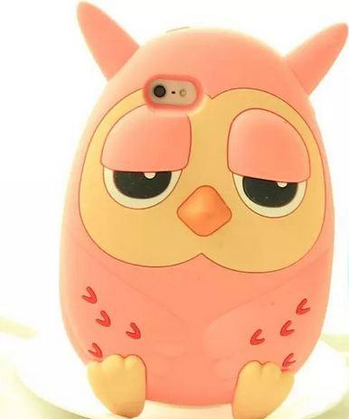 เคส iphone 6 ขนาด 4.7 นิ้ว เคสซิลิโคน อย่างหนา เคสนกฮูก ตาปรือ เคส 3 D ลายหายาก นกฮูก สีชมพู พีช 5073122