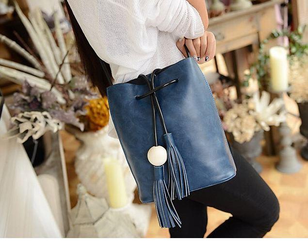 กระเป๋าสะพายข้าง ผู้หญิง สไตล์ วินเทจ กระเป๋าหนัง กันน้ำ กระเป๋าสะพายขนาดกลาง สะพายไปเที่ยว ไปเรียน น่ารัก สวย คลาสสิค น้ำเงิน 222437_3