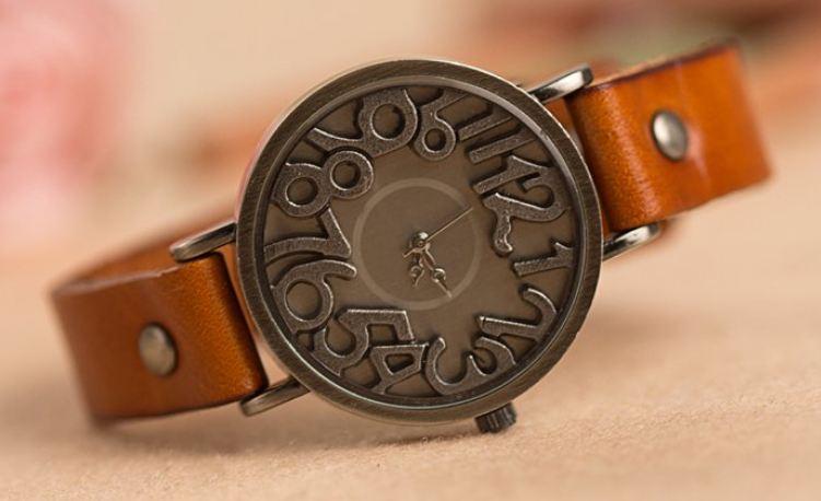 นาฬิกาข้อมือ ผู้หญิง นาฬิกา แฟชั่น สายหนังแท้ สไตล์วินเทจ ดีไซน์ หน้าปัด นาฬิกา โบราณ ตัวเลข คลาสสิค 3 มิติ แบบสวย นาฬิกาสายหนัง เก๋ ๆ 735832