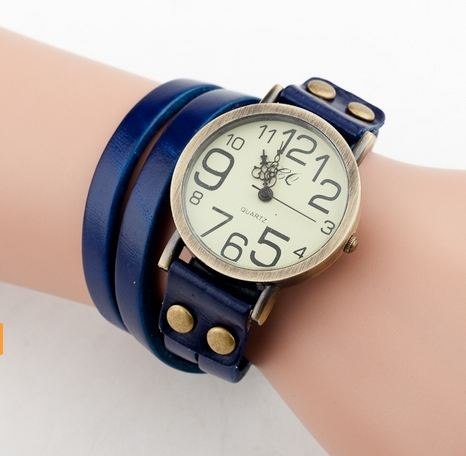 นาฬิกาข้อมือผู้หญิง นาฬิกาข้อมือ สายหนังแท้ นาฬิกาข้อมือ แฟชั่น สไตล์ วินเทจ Hand made หนังวัว อย่างดี ใส่นาน สีส้ม แดง ขาว เหลือง คลาสสิค 57482