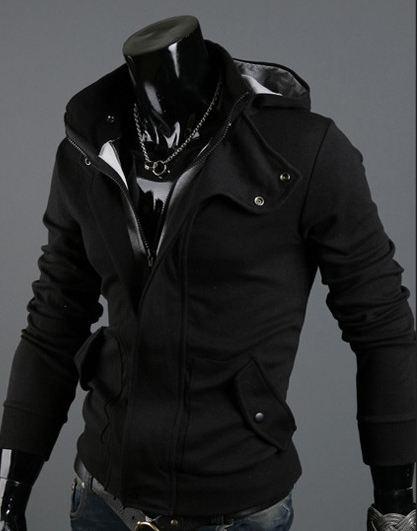 เสื้อกันหนาวผู้ชาย เสื้อคลุมผู้ชายแขนยาว มีฮูด เสื้อ Jacket ซิปหน้า เนื้อผ้าใส่สบาย มีกระเป๋าข้าง ดีไซน์ 2 ชั้น สีดำ 67516