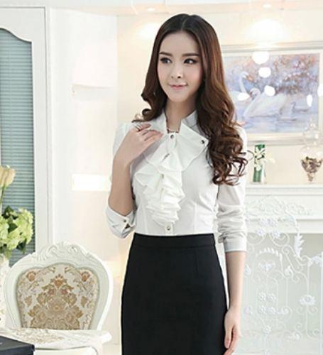 เสื้อเชิ้ตใส่ทำงาน เสื้อชีฟอง แขนยาว สีขาว แต่งกระดุม ที่ปก มีระบาย ที่อก เสื้อเชิ้ตผู้หญิง แบบมีดีไซน์ สำหรับสาว ผู้บริหาร 539997_1
