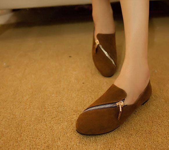 รองเท้าหุ้มส้นผู้หญิง รองเท้ามีส้น เล็กน้อย หนัง pu สีพื้น แต่งซิป ด้านหน้า รองเท้าผู้หญิง ใส่เที่ยว ใส่ทำงาน สีน้ำตาล 78085_1