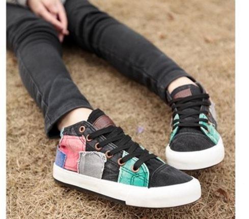 รองเท้าผ้าใบ ผู้หญิง รองเท้าหุ้มส้น แบบวัยรุ่น รองเท้าหุ้มข้อ สไตล์วินเทจ สุดคลาสสิค รองเท้าวินเทจ แบบสวย สีดำ ดีไซน์เก๋ 552511