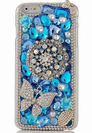 เคส iphone 6 Plus ขนาด 5.5 นิ้ว เคสคริสตัล Rhinestone เคสหรู เคสเว่อร์ ๆ ธีม สีฟ้า ติดคริสตัล เม็ดใหญ่ เล็ก สลับกัน ติดเพชร คริสตัล เคสไฮโซ 927645