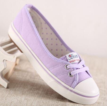 รองเท้าผ้าใบผู้หญิง ส้นแบน รองเท้าหุ้มส้น แบบ ผ้าใบ สีม่วง น่ารัก ใส่สบาย ใส่งานกีฬา ใส่ทำงาน ใส่เที่ยว ได้ทุกโอกาส 415345_5