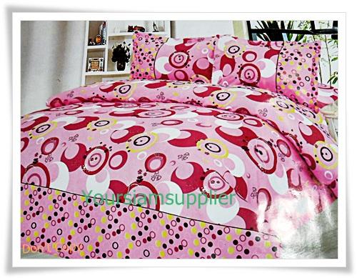 3.5 ฟุต 3 ชิ้น ชุดเครื่องนอน ผ้าปูที่นอน สีชมพูหวาน ๆ P003