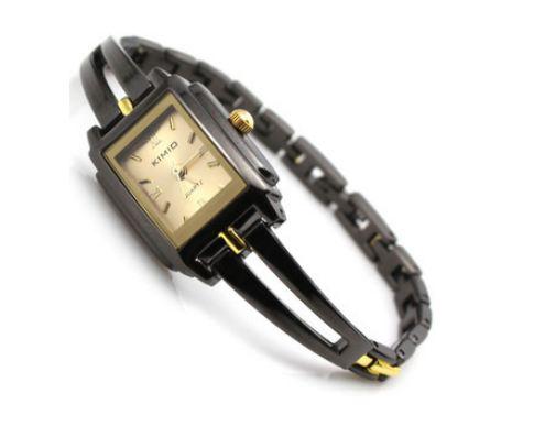 นาฬิกาข้อมือ ผู้หญิง แบบ สร้อยข้อมือ สแตนเลส สีดำ สลับเส้นทอง เพิ่มความหรูหรา คลาสสิค แบบเรียบ ๆ หน้าปัด สี่เหลี่ยม สีทอง และ สีดำ 140380