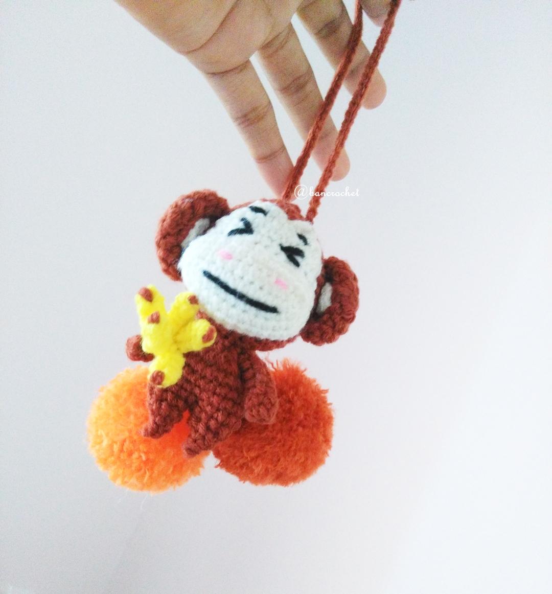 ที่ห้อยกระเป๋า พวงกุญแจตุ๊กตา ลิง dolls pom pom amigurumi crochet keychain