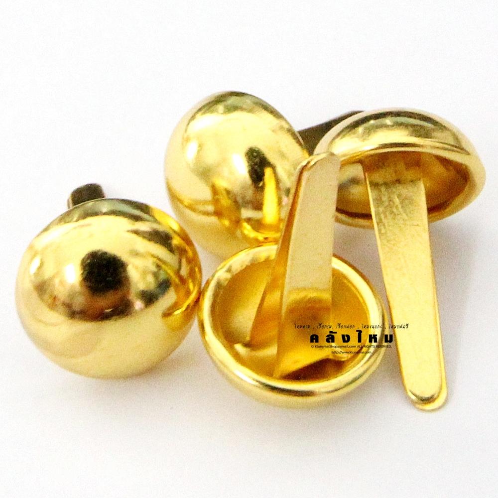 หมุดรองก้นกระเป๋า กลมใหญ่ สีทอง (แพ็คละ 4 ชิ้น)