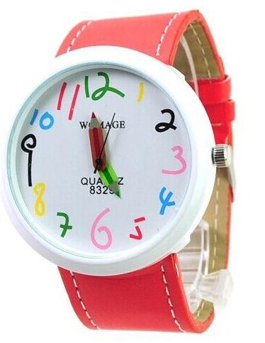 นาฬิกาข้อมือ ผู้หญิง ผู้ชาย ใส่ได้ สายหนัง ลายกราฟฟิค Paint รูปดินสอ ลายการ์ตูน ตัวเลขน่ารัก สีแดง ของขวัญให้แฟนสุดเก๋ no 824387_5