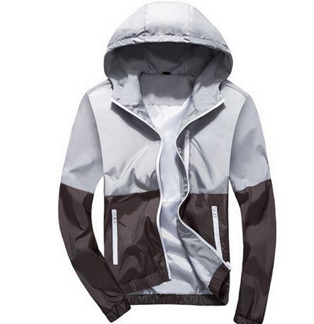 เสื้อแจ็คเก็ต ผู้ชายแขนยาว ผ้า Polyester เนื้อผ้า บางเบา เสื้อคลุม ใส่วิ่ง สีเทาอ่อน ตัด ไล่โทนสี เสื้อหมวก มีฮู้ด ใส่สบาย กันลม กันแดด 220418_1