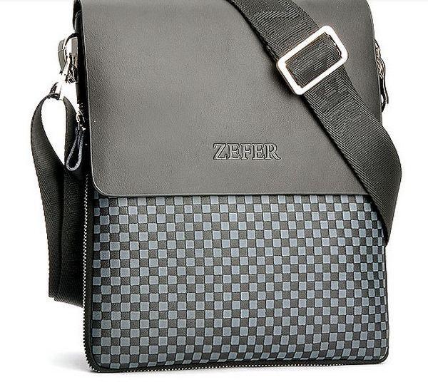 กระเป๋าสะพายข้างผู้ชาย หนังแท้ ใบกำลังดี ลายสก๊อต สีน้ำตาล และ สีเทา ใส่ ipad tabplat ได้ no 7042586
