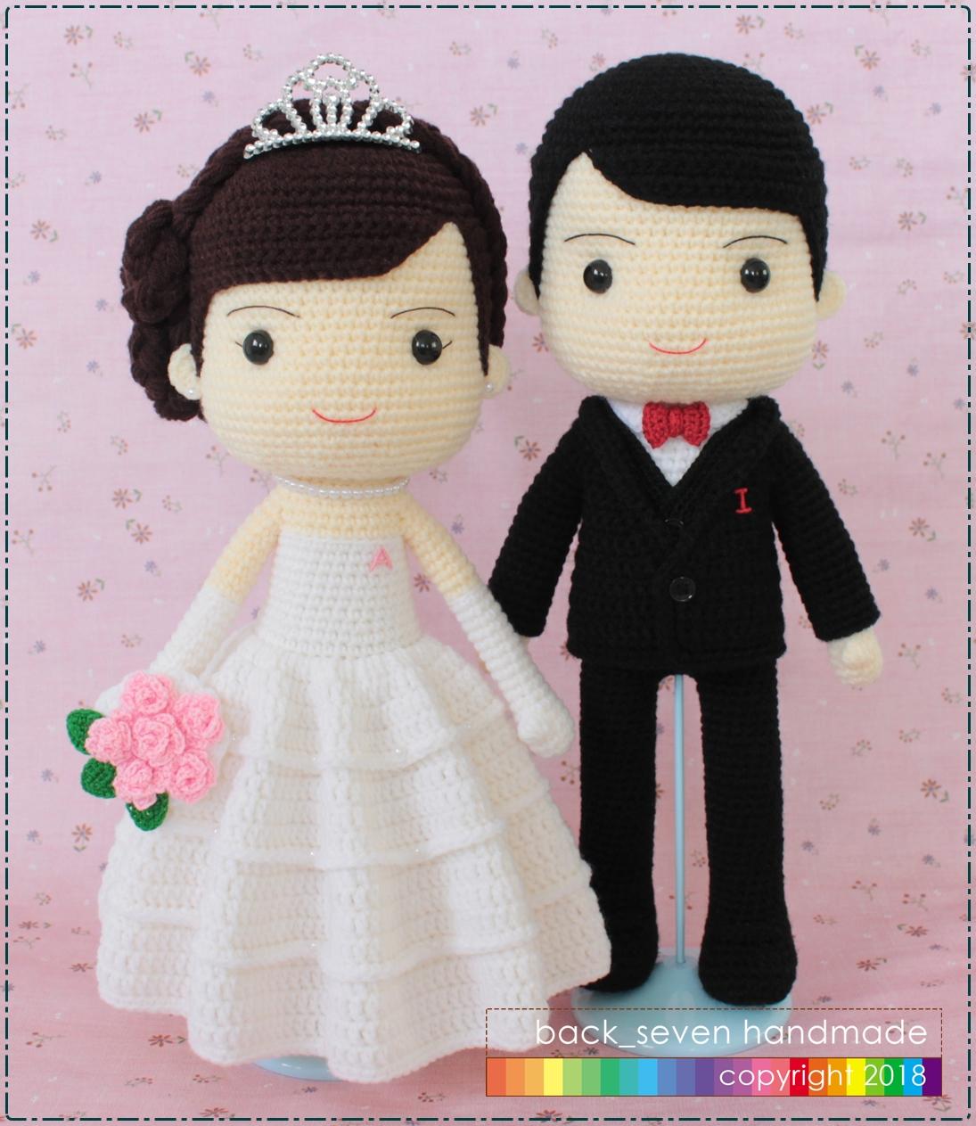 ตุ๊กตาถักคู่แต่งงานชุดสากล ระบาย 3 ชั้น
