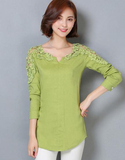 เสื้อผ้าลูกไม้ สีเขียวอ่อน โทนอบอุ่น เสื้อเชิ้ต ผู้หญิง แขนยาว ดีไซน์ ผสมผสาน ผ้าลูกไม้ ที่คอ เสื้อ และ ไหล่ เสื้อใส่เที่ยว ใส่ทำงาน 698397_1